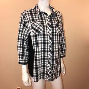 Allison Daley Flannel Shirt Black White Plaid
